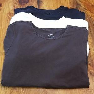 Bundle 3 CJ Banks 3/4 Sleeve Shirts 1X Brown White
